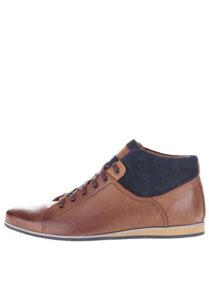 Hnědé pánské kožené kotníkové boty OJJU