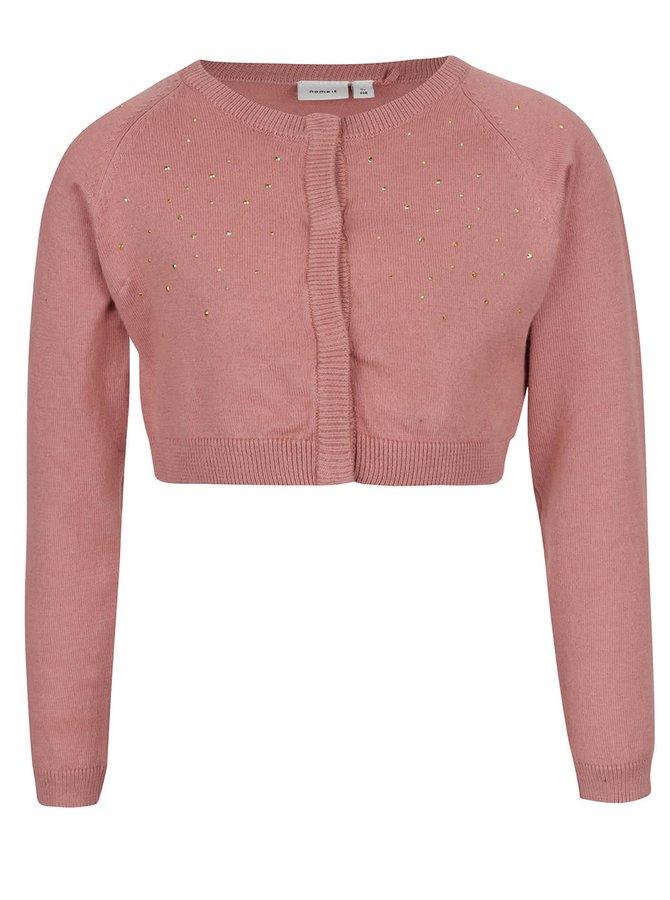 Růžový holčičí krátký svetr s aplikací name it Piloa