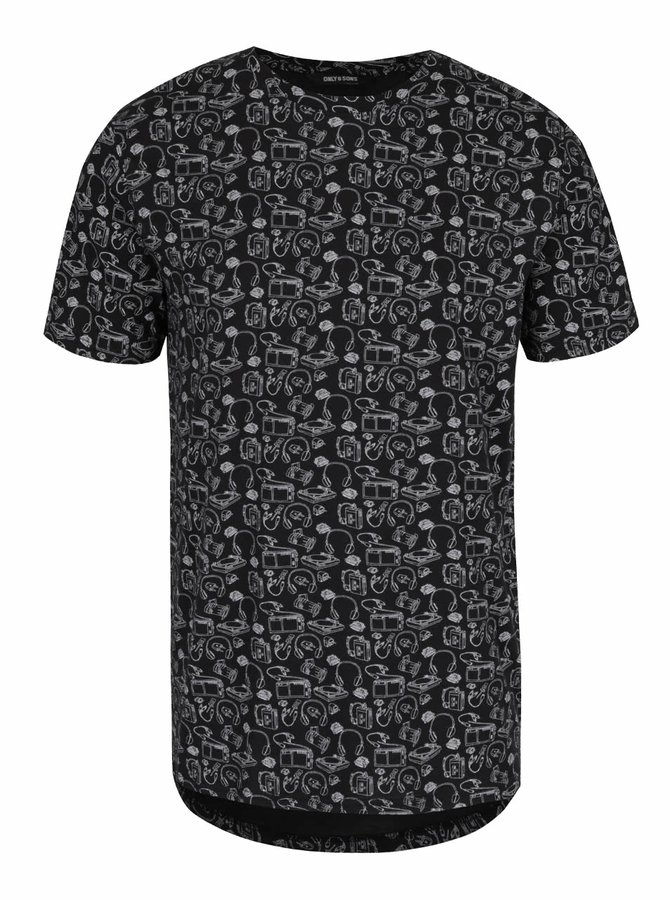 Černé triko se vzorem ONLY & SONS Andreas