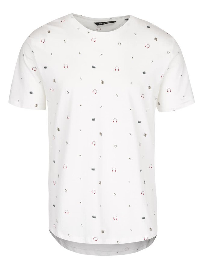 Krémové triko s drobným vzorem ONLY & SONS Andreas
