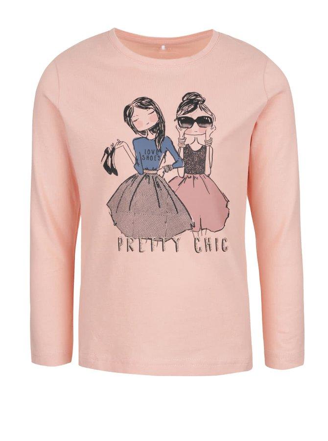Světle růžové holčičí tričko s potiskem a dlouhým rukávem name it Kalise