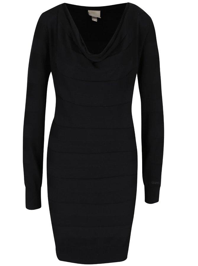 Čierne šaty s dlhými rukávmi Bench Declaredround