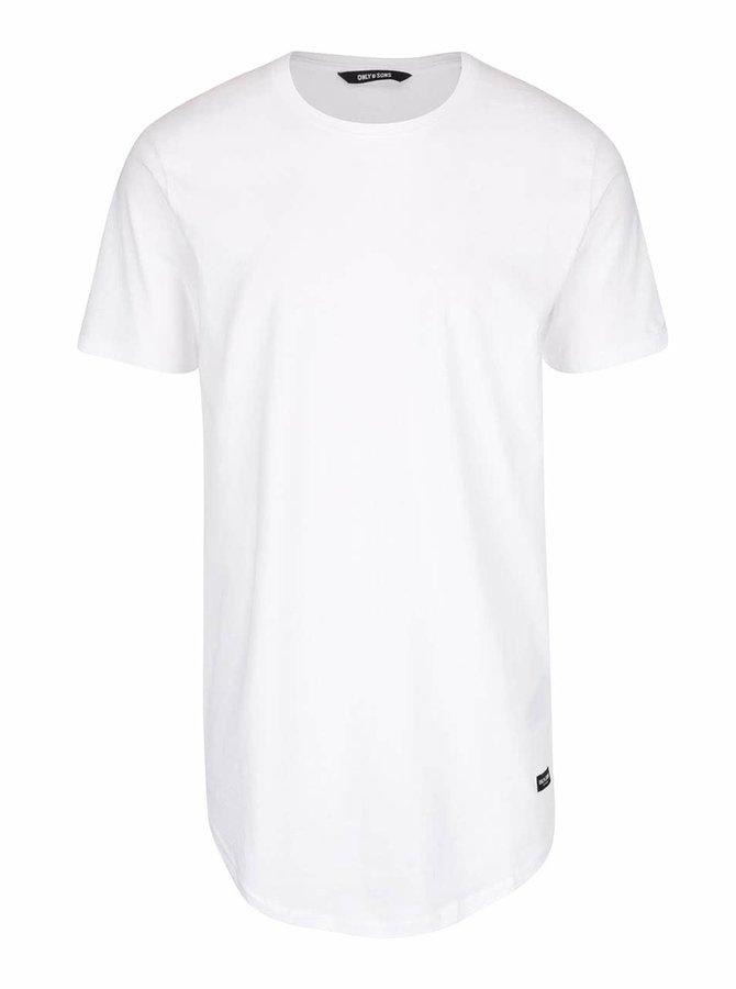 Bílé dlouhé triko ONLY & SONS Super Long