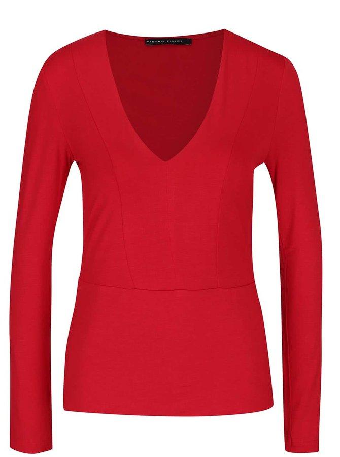 Červené dámaske tričko s véčkovým výstrihom Pietro Filipi