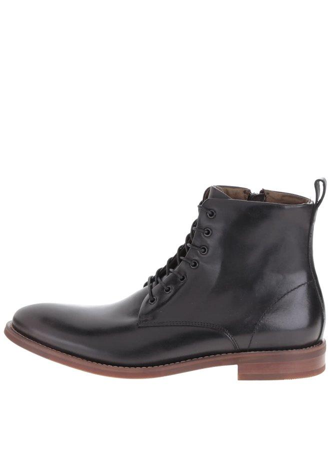 Černé pánské kožené šněrovací kotníkové boty ALDO Cadirama