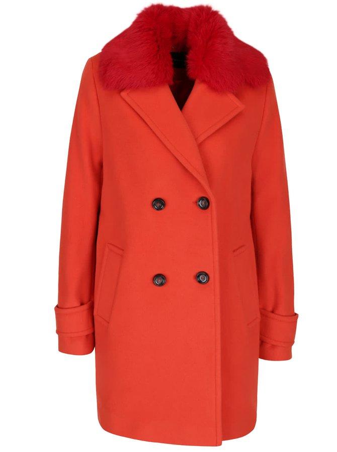 Palton roșu cu blană sintetică Pietro Filipi