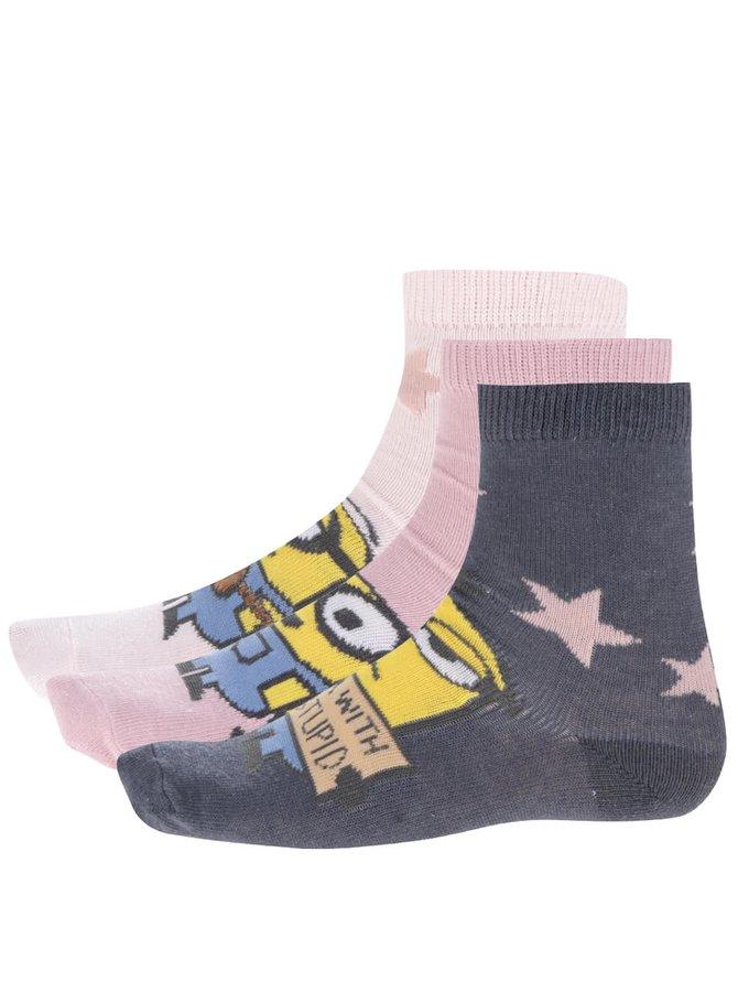 Sada tří párů barevných holčičích ponožek s motivem Mimoňů name it Minions