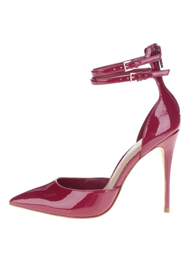 Vínové lesklé sandálky na jehlovém podpatku ALDO Marylee