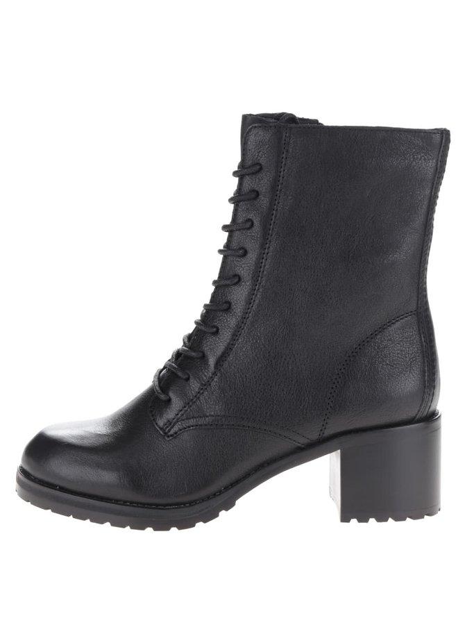 Čierne dámske semišové členkové topánky na podpätku ALDO Crowl