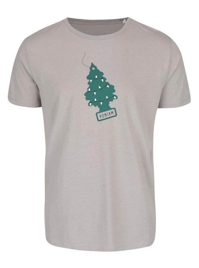 Sivé pánske tričko s potlačou ZOOT Originál Voňavé Vianoce
