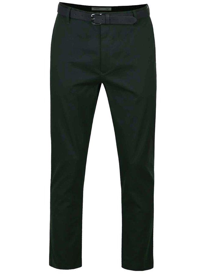 Tmavě zelené slim chino kalhoty s páskem Burton Menswear London