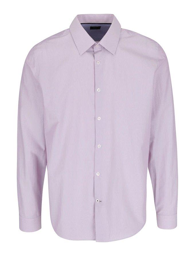 Světle růžová pruhovaná slim fit košile Burton Menswear London
