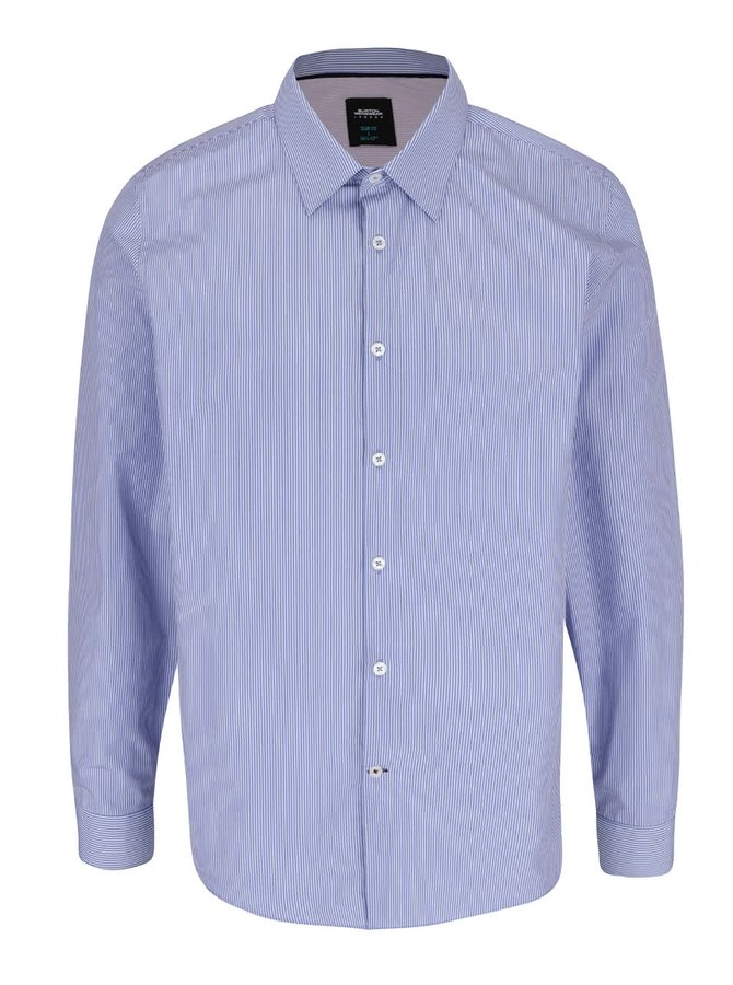 Krémovo-modrá pruhovaná slim fit košile Burton Menswear London