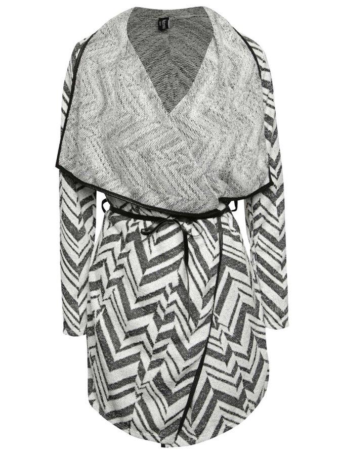 Bílo-černý cardigan s geometrickým vzorem Madonna Valerie