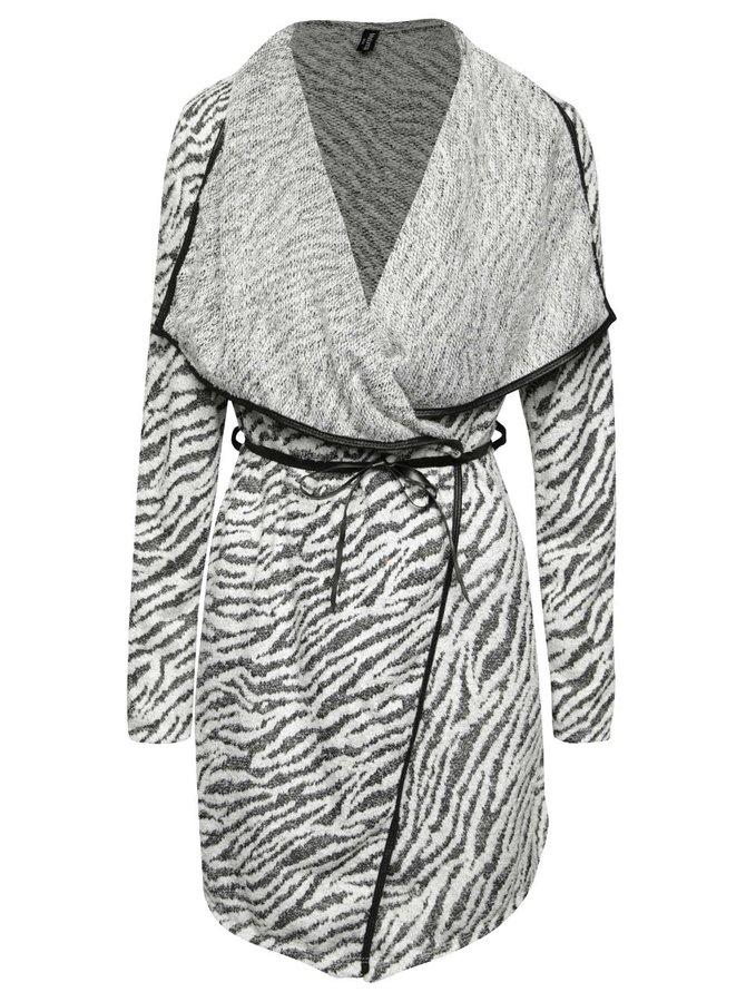 Bielo-čierny kardigán so zvieracím vzorom Madonna Valerie