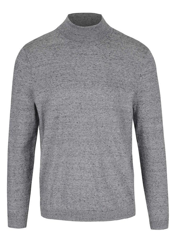 Pulover gri Burton Menswear London cu guler înalt și model discret