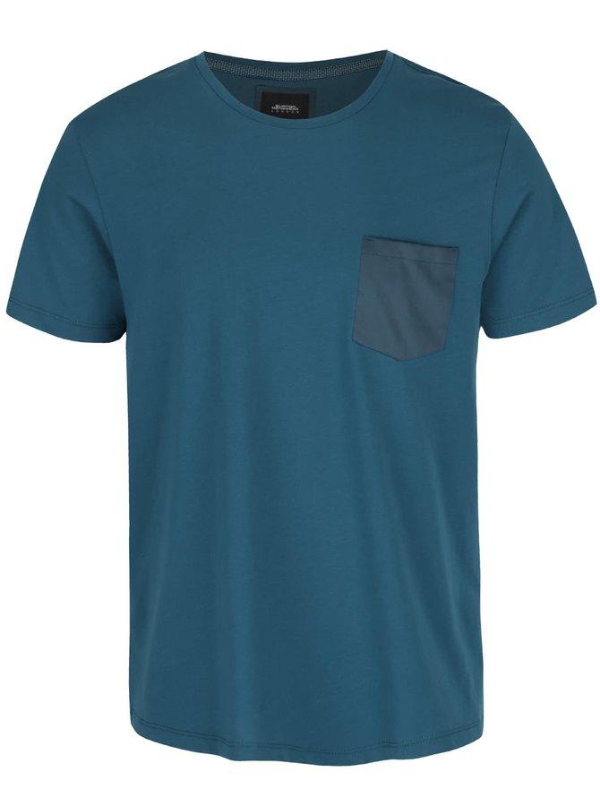 Petrolejové triko s kapsou Burton Menswear London