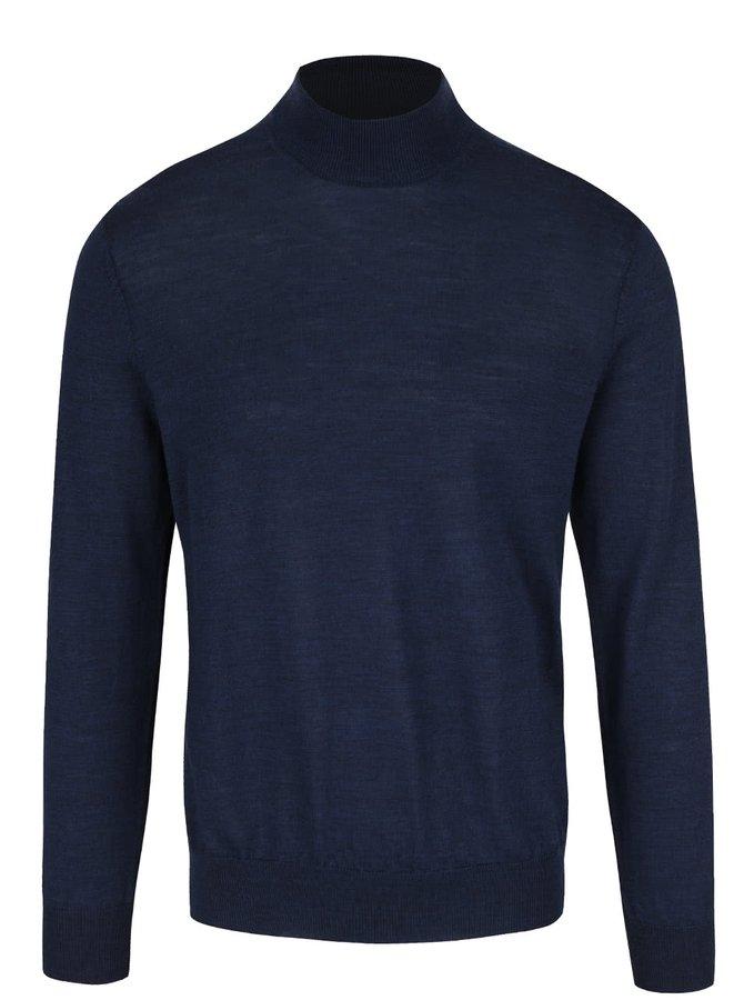Tmavě modrý rolák s dlouhým rukávem z Merino vlny Burton Menswear London