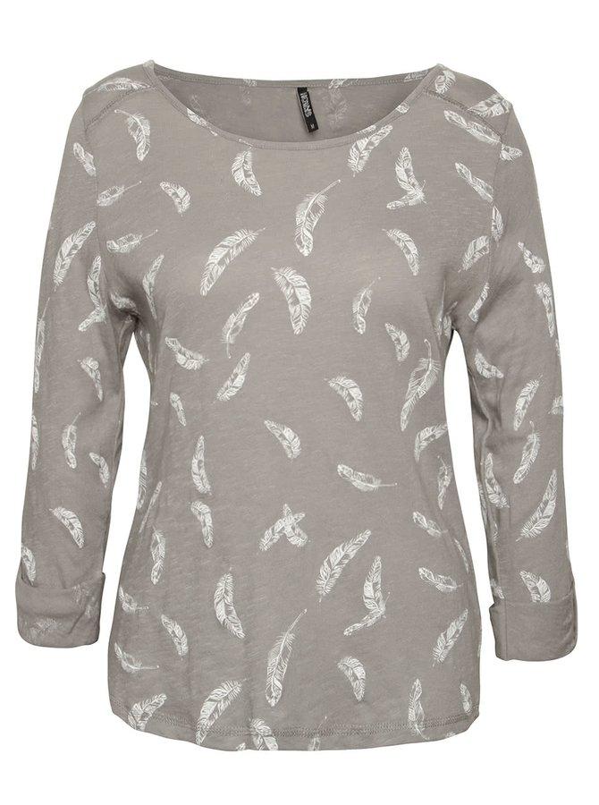 Sivé tričko s motívom pierok a 3/4 rukávmi Haily´s Ocie