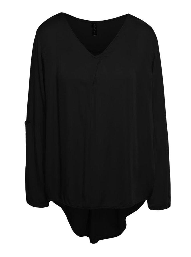 Bluză neagră cu mâneci lungi ajustabile Madonna Meral