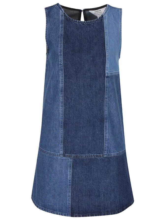 Modré džínové šaty bez rukávů Miss Selfridge
