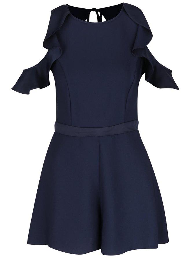 Tmavě modrý krátký overal s průstřihy na ramenou Miss Selfridge
