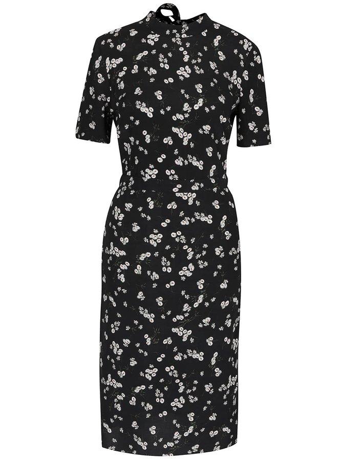 Tmavě modré květované šaty se stojáčkem Miss Selfridge
