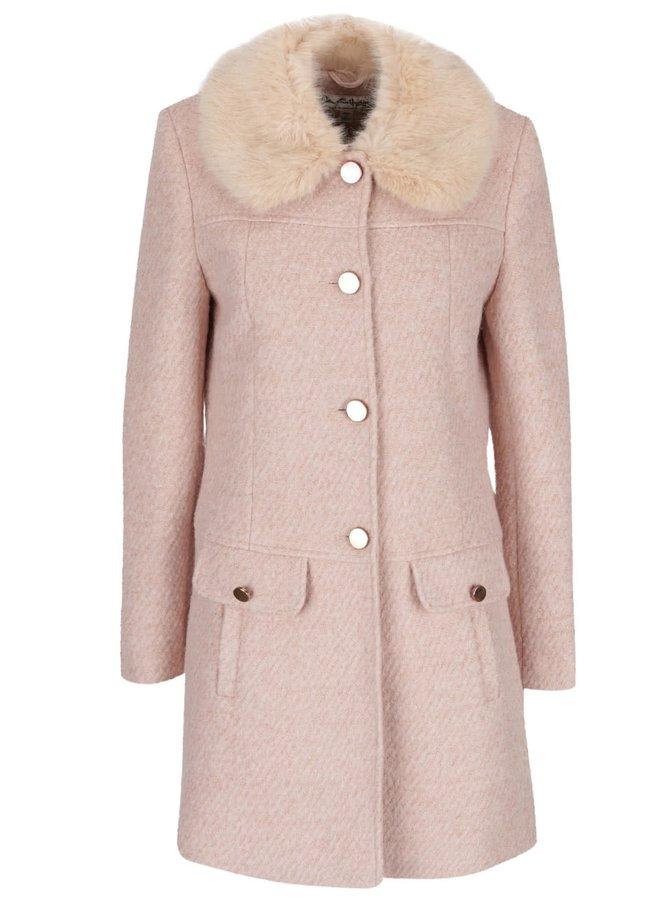 Svetloružový kabát s umelým kožúškom Miss Selfridge