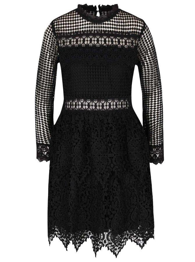 Černé krajkované šaty s dlouhým rukávem Miss Selfridge