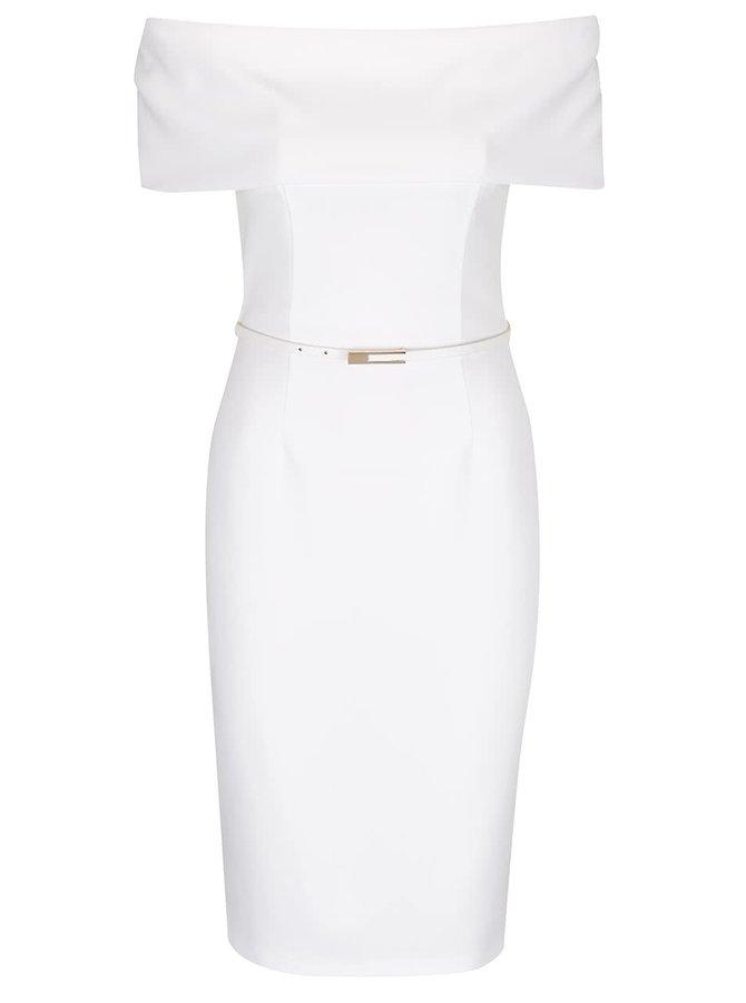 Krémové šaty s odhalenými rameny a páskem Miss Selfridge