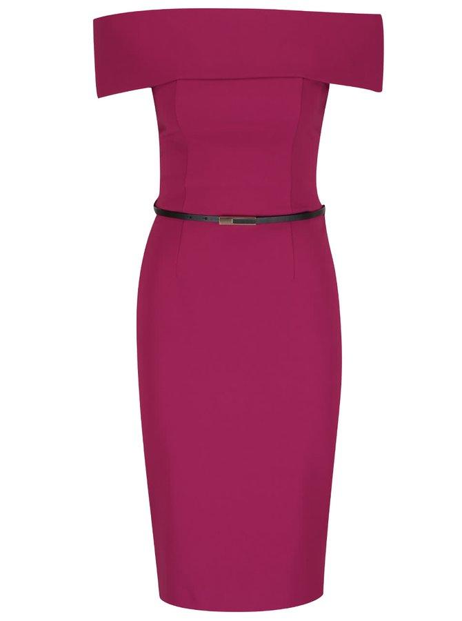 Růžové šaty s odhalenými rameny a páskem Miss Selfridge