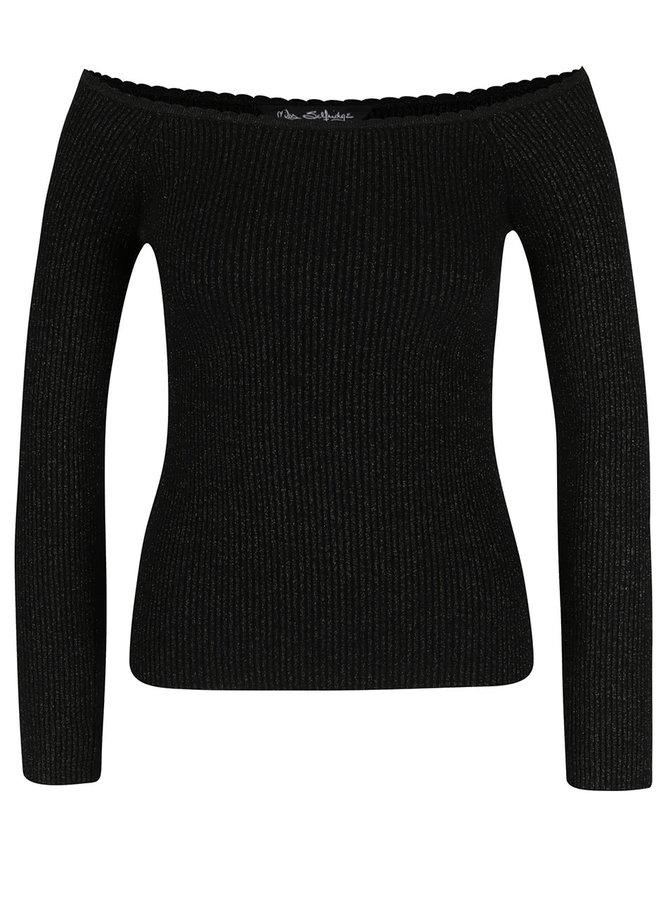 Čierne trblietavé rebrované tričko s odhalenými ramenami Miss Selfirdge