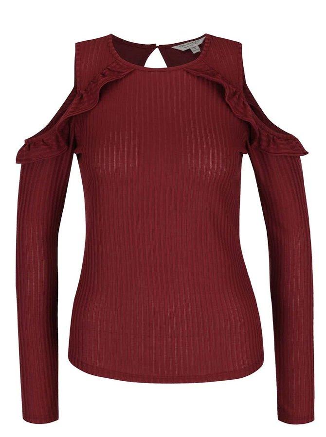 Vínové žebrované tričko s odhalenými rameny Miss Selfridge