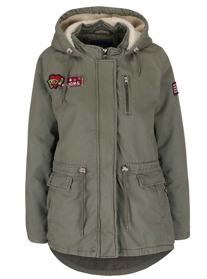 Jachetă kaki cu glugă ONLY Kammi