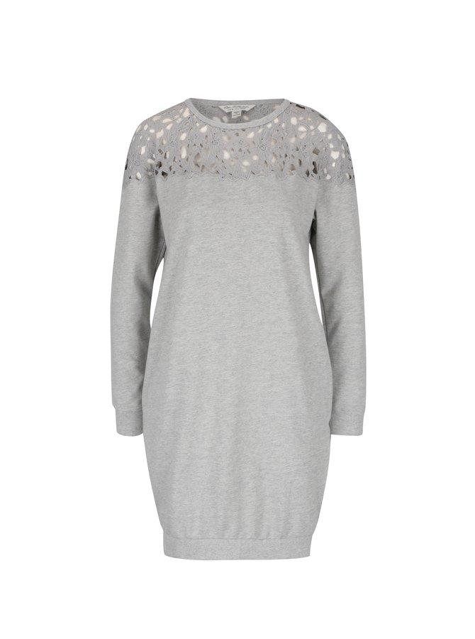 Světle šedé mikinové šaty s krajkovanými rameny Miss Selfridge