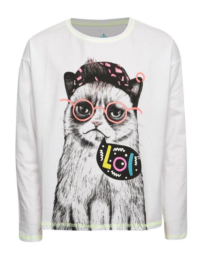 Bílé holčičí tričko s potiskem kočky a dlouhým rukávem 5.10.15.