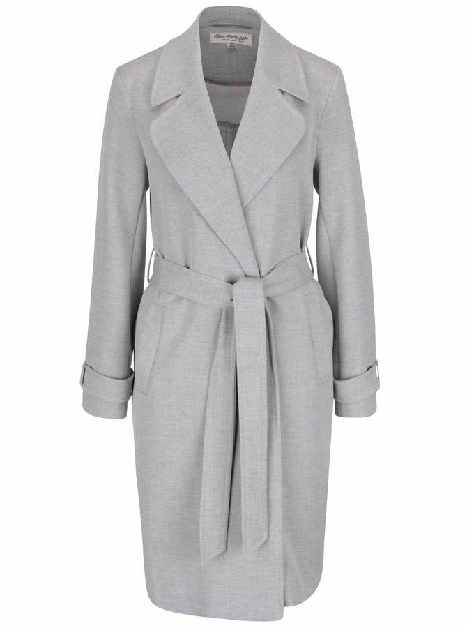 Svetlosivý kabát s opaskom Miss Selfridge