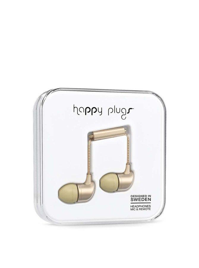 Matné in-ear saint sluchátka ve zlaté barvě Happy Plugs