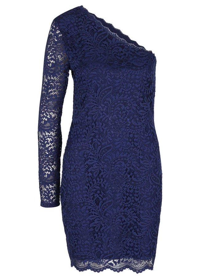 Tmavomodré čipkované šaty s odhaleným ramenom Vero Moda Celeb