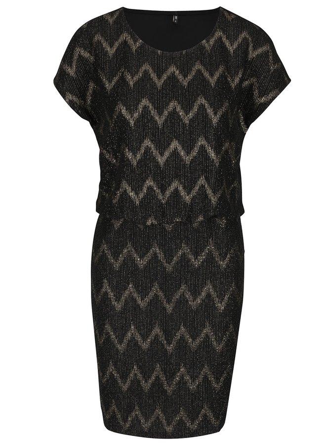 Čierne šaty so vzorom v zlatej farbe ONLY Ziva