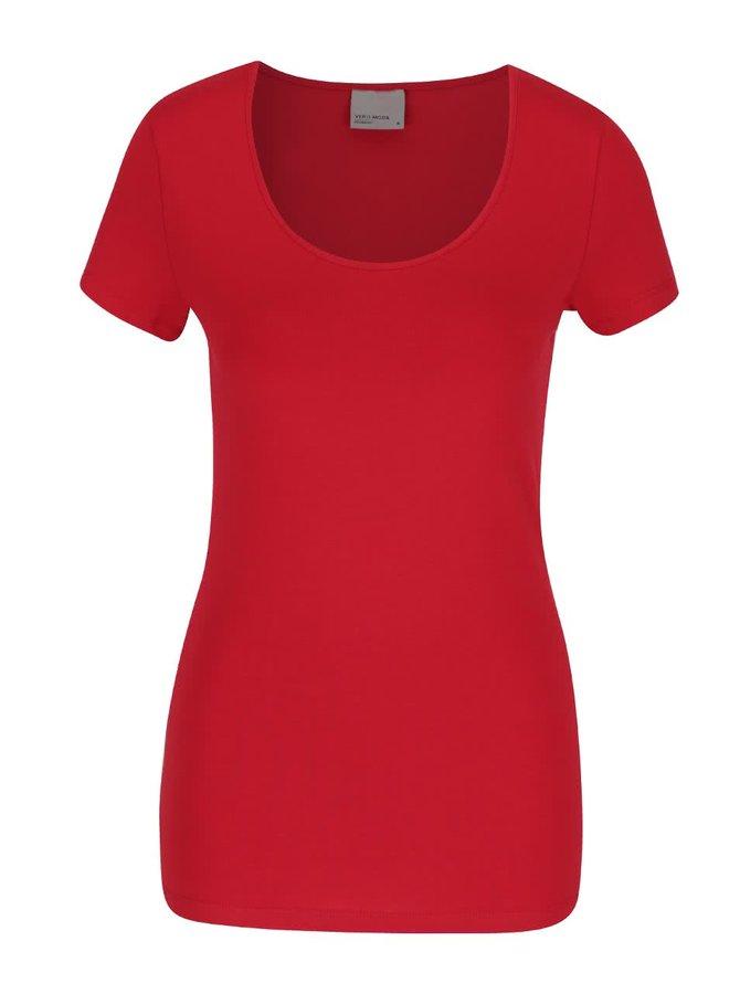 Růžovočervené tričko s krátkým rukávem Vero Moda Maxi My