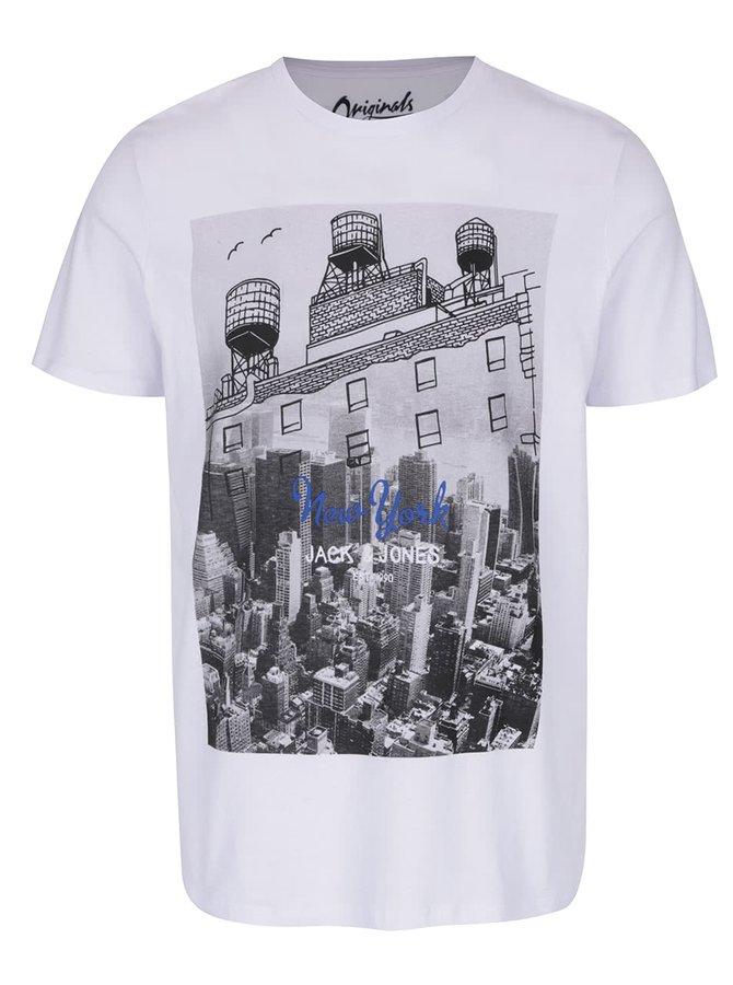 Bílé triko s potiskem Jack & Jones Sway