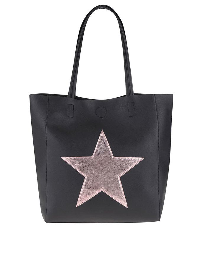 Černý shopper s nášivkou v růžové barvě Haily´s Stellina