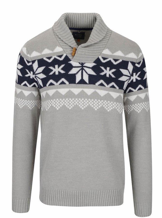 Sivý sveter so vzorom Blend