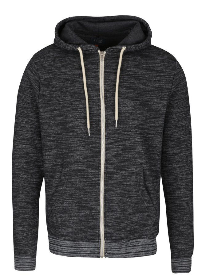 Tmavě šedá žíhaná mikina na zip s kapucí Blend