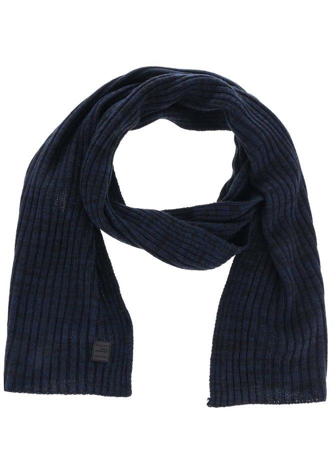 Fular albastru cu negru Blend cu model striat