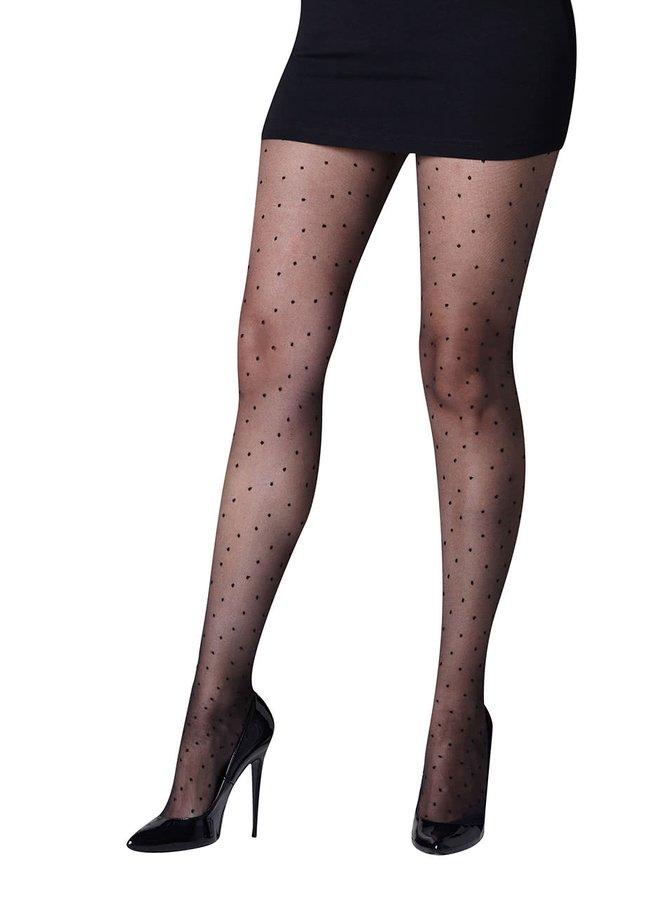 Černé punčochy s drobnými puntíky Gipsy Fashion