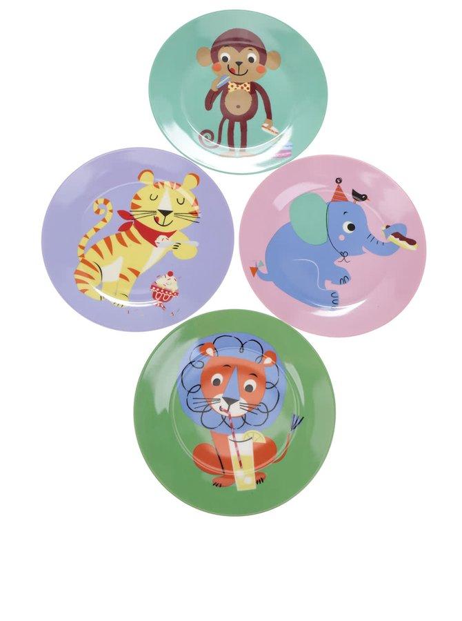 Sada čtyř barevných talířů s potiskem zvířat Magpie Party