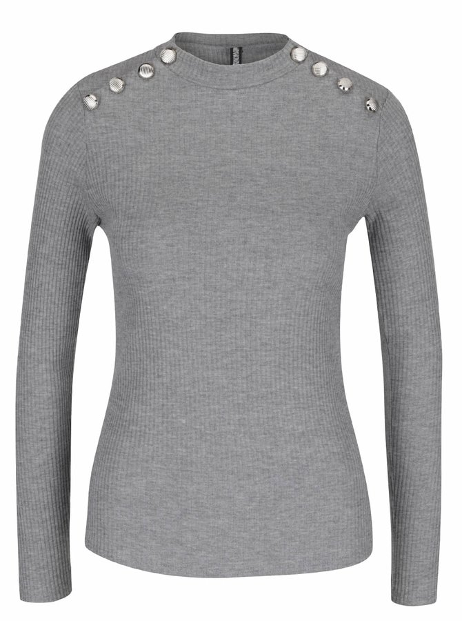 Šedé žebrované tričko s ozdobnými knoflíky Haily´s Rina