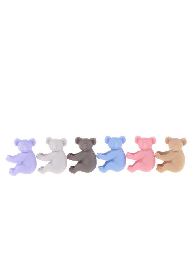 Set de 6 accesorii multicolore pentru pahar Kitchen Craft în formă de urși koala